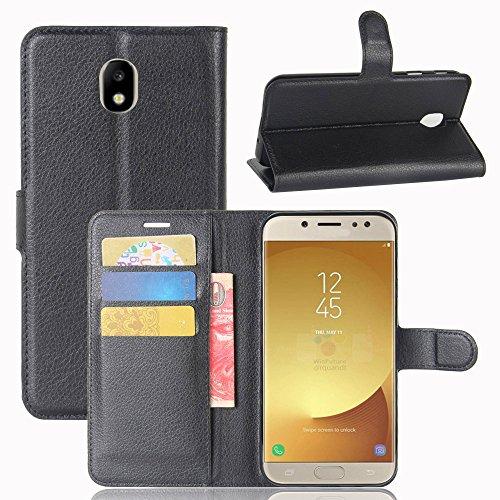 EUGO Cover Samsung Galaxy J7 2017 + Pellicola Protettiva, Nero Custodia di Cuoio, Slot per Scheda e Protettiva Flip Integrati Portafoglio con Magnetico Snap Case