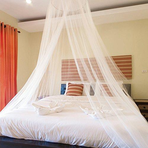 Blusea Mosquitero para Camas, Universal White Dome Malla de mosquitera Red Instalación fácil Cama Colgante Canopy Netting para Camas Individuales a Camas extragrandes Hamacas Cunas