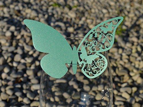 50pz farfalle Segnaposto Segnabicchiere VARI COLORI bomboniera matrimonio segnatavolo CARTA PERLATA (VERDE SMERALDO)