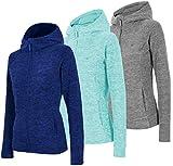 4F Damen Fleecejacke mit Kapuze | Fleecepullover Fleecepulli | Seitentaschen und Reißverschluss | Sweatshirt Übergangsjacke (Türkis, XL)