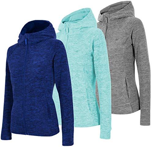 4F Damen Fleecejacke mit Kapuze | Fleecepullover Fleecepulli | Seitentaschen und Reißverschluss | Sweatshirt Übergangsjacke (Türkis, L)