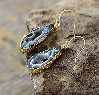 Natural Sliced Druzy Grey Amethyst Geode Earrings Dipped in Gold   Top-notch Quality Druzy Stone Earrings   Natural Stone Earrings   Xmas Gift Ideas   Holiday Favorites