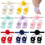 Cinaci 8 Pairs Chiffon Flower Barefoot Sandals with Headbands Accessories for Baby Girls Newborns Infants Toddlers Kids