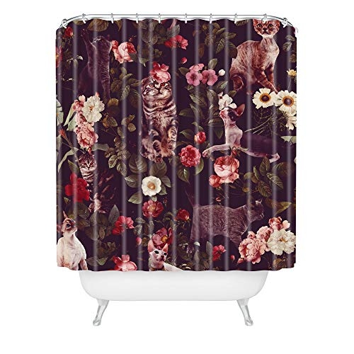 "Society6 Burcu Korkmazyurek Cat and Floral Pattern Shower Curtain, 72"" x 69"" 2lbs, Multi"