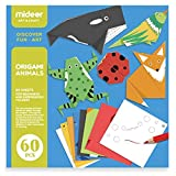 boppi Mideer - Paquete de 60 piezas para niños de papel origami plegable con libro de instrucciones para esculturas de papel Kami - Animales