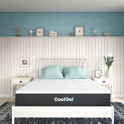 Classic Brands Cool Gel 2.0 Chill Memory Foam 10-Inch Mattress / CertiPUR-US Certified / Bed-in-a-Box, Queen