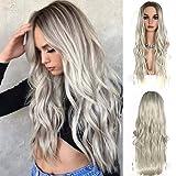Party Queen - Parrucca di capelli sintetici lunghi ondulati, senza colla, biondo platino con radici scure, fibra resistente al calore, per donne afroamericane