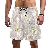 Vockgeng Shorts de baño para Hombre Planeta Universo Dorado con Pantalones Cortos de Malla con Forro de Malla natación con cordón de Malla para Hombres niños XL