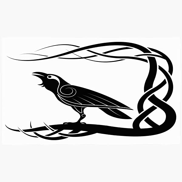 Ahawoso Doormat Door Mat 18x30 Crow Tattoo Pagan Paganism Raven Animals Vintage Wildlife Celtic Bird Black Knot Silhouette Pattern Machine Washable Non Slip Mats Bathroom Kitchen Decor Area Rug