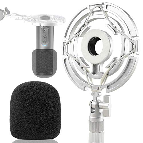 ATR2500X Mic Shock Mount with Pop Filter - Shockmount with Foam Windscreen to Reduce Vibration Noise Compatible for Audio-Technica ATR 2500X and ATR2500 USB Condenser Microphone by YOUSHARES