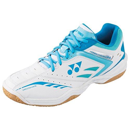 YONEX Power Kissen 34Damen Badminton Schuhe, weiß/blau