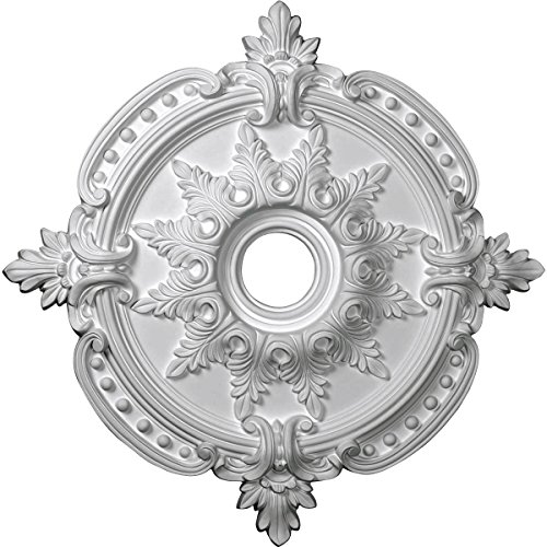"""Ekena Millwork CM28BE Benson Classic Ceiling Medallion, 28 3/8""""OD x 3 3/4""""ID x 1 5/8""""P (Fits Canopies up to 6 1/2""""), Factory Primed"""