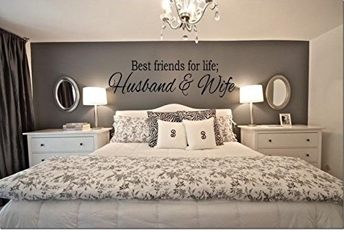 N.SunForest Best Friends for Life Husband & Wife Wall Art Decal Quote Words Lettering Decor