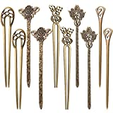 Jetec 10 Pieces Chinese Women Hair Chopsticks Antique Bronze Decorative Hair Pin Vintage Hair Sticks for Hair Diy Accessory, 5 Styles (Classic Style)
