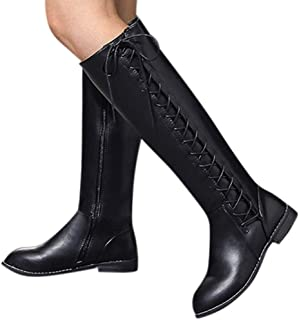 GHrcvdhw Women Stylish Women's Shoes Solid Round Head Leather High Heel and Knee Boots Zipper Long Tube Cotton Boots