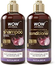 WOW Red Onion Black Seed Oil Shampoo and Conditioner Kit Increase Gloss, Hydration, Shine - Reduce Itchy Scalp, Dandruff, Frizz, No Parabens or Sulfates, All Hair Types, 2 x 16.9 Fl Oz 500mL