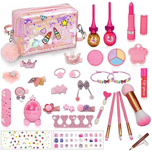 RichSmile 36PCS Maquillage Enfant Jouet, Kids Make Up Set pour Les Filles, Kit de Jouet de Maquillage Lavable avec Sac cosmétique à Paillettes