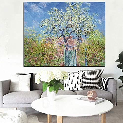 Schilder HD Print Impressionistische Perenboom Landschap Olieverfschilderij Poster Woonkamer Fotolijst Frameloze schilderij 90X120CM