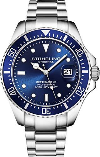 Stuhrling - Reloj de Buceo para Hombre, diseño de Buceo Deportivo con Corona de Rosca y Resistente al Agua hasta 100 m, Esfera analógica, Movimiento de Cuarzo (Azul)