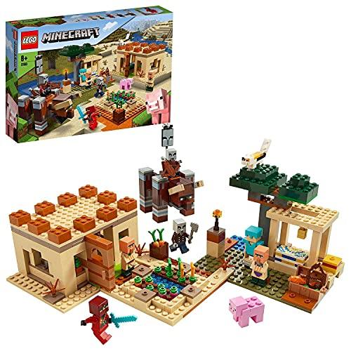 LEGO 21160 Minecraft Der Illager-Überfall Bauset mit Verwüster und Kai, Spielzeug für Kinder