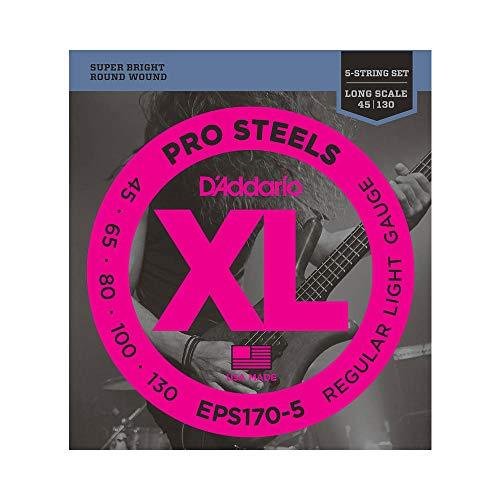 d'Addario EPS170-5 Juego de cuerdas para bajo eléctrico de acero, 0.045, 0.130,...