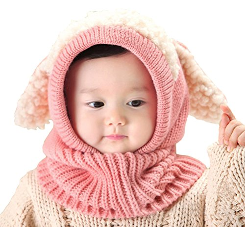 Baby Girls Boys Winter Hat Scarf Earflap Hood Scarves Skull Caps Pink One