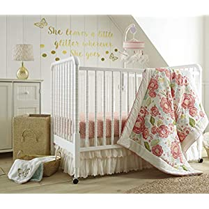 Levtex Baby – Charlotte Crib Bed Set – Baby Nursery Set – Pink Coral Aqua Gold Green – Floral – 5 Piece Set Includes Quilt, Fitted Sheet, Diaper Stacker, Wall Decal & Bed Skirt/Dust Ruffle