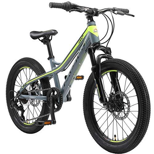 BIKESTAR Alu Mountainbike Jugendfahrrad 20 Zoll ab 6-9 Jahre Hardtail | 7 Gang Shimano Schaltung, Scheibenbremse, Federgabel | Kinder Fahrrad Grau Gelb | Risikofrei Testen