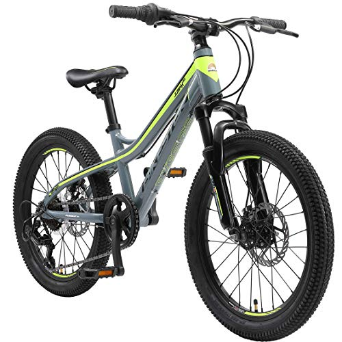 BIKESTAR Kids Mountain bike aluminium 20 Inch 6-9 years | Children youth bicycle 7 gear Shimano, Disc Brake, Suspension Fork, Hardtail | Green