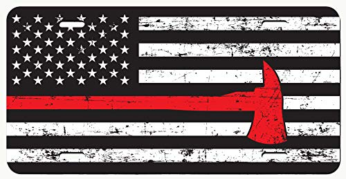 DHDM Thin Red Line Distressed Flag with Axe License Plate Tag Vanity Novelty Metal | UV Printed Metal | 6-Inches by 12-Inches | Car Truck RV Trailer Wall Shop Man Cave | VLP613