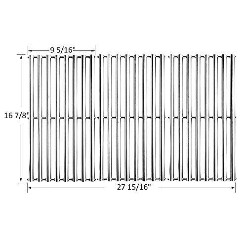 BBQ funland GS8763 Stainless Steel Cooking Grid Replacement for Charbroil 463433016, 463461615, 463420507, 463420508, Kenmore 463420507, Master Chef 85-3100-2, 85-3101-0, G43205, T480, Set of 3