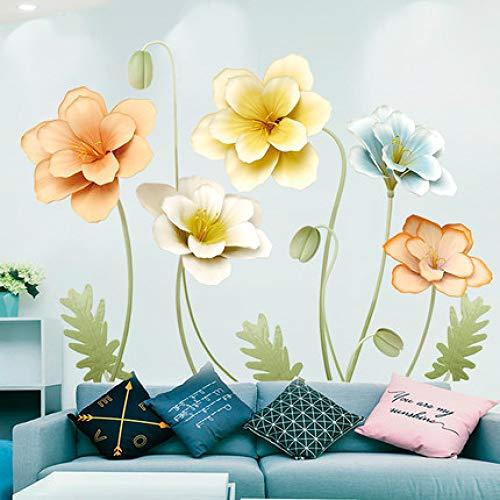 Blumen Wandaufkleber Sofa Wohnzimmer TV Hintergrund Wanddekoration Aufkleber Dekoration Poster Natur Kunstdrucke Wandbild Aufkleber60x90cm