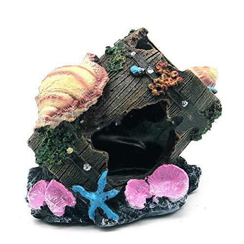 Kalaokei Miniaturfigur Miniatur Puppenhaus Zubehör, Aquarium Harz Künstliche Muschel Fass Aquarium Garnelen Versteck Haus Höhle Dekor Schwarz