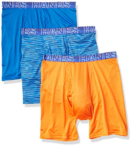 Hanes Men's X-Temp 4-Way Performance Stretch Mesh Boxer Brief, Assorted-3, Large ( Color / Pattern may Vary)