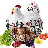 Pollo Forma cerámica Metal Cesta para Huevos, Huevo Almacenamiento, Hogar Cesta...