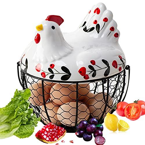 Arcwares Eierkorb aus Keramik, Hühnerform Metall Eierkörbchen, Schwarz Metall Mesh Draht Eier aufbewahrung, Brotkorb Obstkorb Küchenvorratskorb für die Küche, 27 Eier 1 Satz