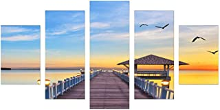 Five Pieces Painting Frameless Oil Painting Seaside Evening Living Room Decoration Combination Oil Painting Decorative Wal...