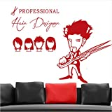 Wall Stickers Muraux Coiffeur Professionnel Sex Girls Lady Hair Salon Nom Coupe De Cheveux Sticker Coiffure Vitrine D Taille Finie 17X23In (45X60Cm)