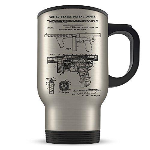 Mafia Travel Mug for Men and Women - Al Capone Coffee Cup for Tommy Gun Lovers - Best Italian Mafia Themed Gift Idea - Cool Thompson Submachine Gun Invention Patent