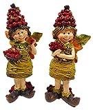 Juego de 2 figuras de niños de bayas de 13 x 5 cm con alas de baya, hada, primavera, otoño, decoración GODE E18