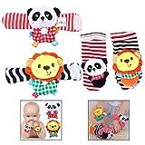 LHKJ 4Pcs Animales Sonajeros muñecas y Calcetines para bebés Recien Nacidos