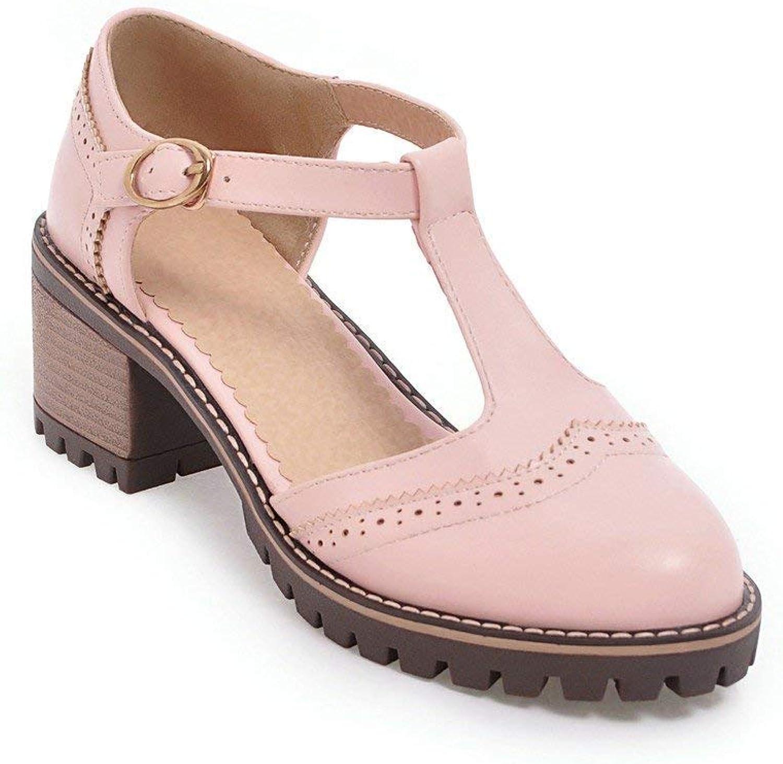 KAOKAOO Women's Round Toe Mary Jane Pumps Fashion T-Strap Low Chunky Heel Antiskid Sweet Lolita Oxfords shoes