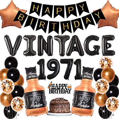 Decoración de cumpleaños 50 con diseño de whisky para fiestas de cumpleaños, diseño vintage de 1971, pancarta de feliz cumpleaños, decoración de pastel de whisky, globos de estrellas