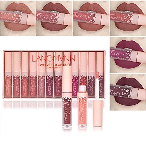 Allbesta 12 Farben Velvet Nude Lipgloss Liquid Lippenstift Matt Set Wasserfest Langlebige Smooth 12 Pcs Kit Makeup