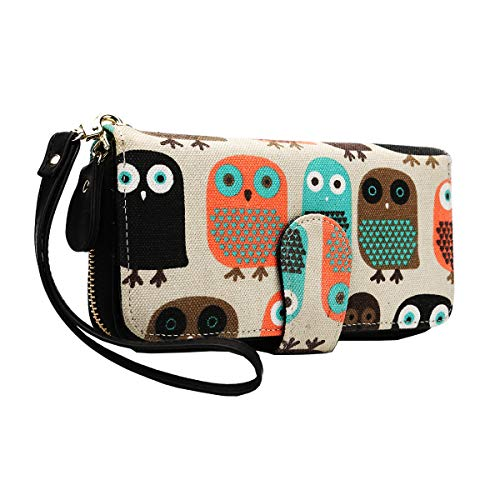 Geldtasche Damen Geldbörse Reißverschluss-Brieftaschen groß Kapazität Canvas Geldbeutel Tasche Damen Portemonnaie - Mescara (Eulen-2)