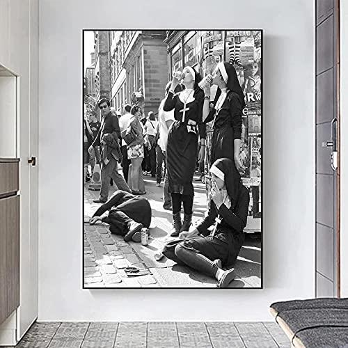 Impresión en lienzo 40x60 cm sin marco fotografía en blanco y negro carteles e impresiones monja bebida arte de la pared imagen decoración de la pared de la habitación del hogar