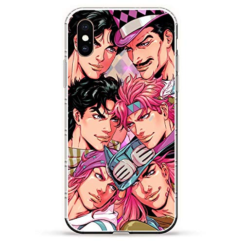 QNNN Transparent Silicone TPU Shockproof Clear Case Compatible with Apple iPhone X/XS-Jojo-Bizarre Stardust-Crusaders 7