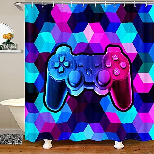 Cortina de ducha de panal con ganchos para juegos Gameapd impermeables para niños, niñas, adolescentes, niños, jugadores, cuarto de baño, videojuegos, cortinas hexagonales de baño de 122 x 178