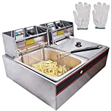 WeChef Large Commercial Stainless Steel Electric Countertop Deep Fryer Dual Tank Basket Restaurant Equipment 5000W 24L