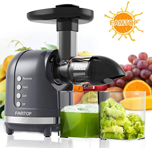 Juicer Machines, FAMTOP Slow Masticating Juicer, Extractor with Reverse Function, Quiet Motor Cold Press Machine, Higher Yield from Fruit and Vegetable Easy to Clean, Gray